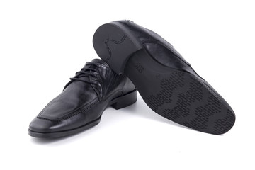 Male Black Shoe Leather Quality on White Background, Isolated Product, Top View, Studio.