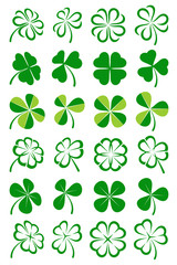 Leaf clover collection set. Vector