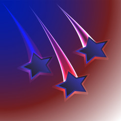 Patriotic usa flag colors background with three stars for 4th july