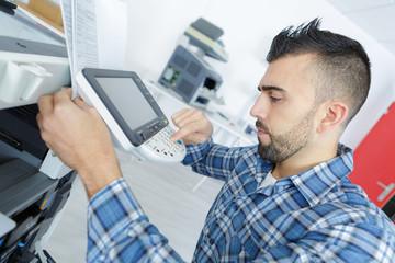 setting the photocopier machine