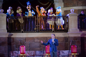 Disney Chairman and CEO Bob Iger delivers a speech during a celebration ceremony to mark Shanghai Disney Resort's first anniversary in Shanghai