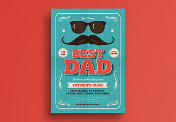 Sunglasses and Mustache Father's Day Event Poster Layout