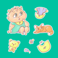 Vector set of color illustrations stickers of the surprised child and the kitten. Hygiene items, baby care and toys. The chubby curly puzzled kid with big eyes in bright clothes and red cat