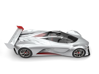 Silver modern concept racing car with red details