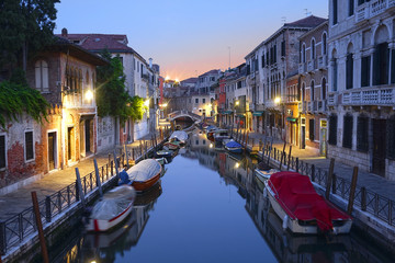 Venice, Italy, May, 31, 2017: night landscape with the image of  channel in Venice, Italy