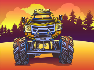 Vector Cartoon Monster Truck on the evening landscape in Pop Art style. Extreme Sports.