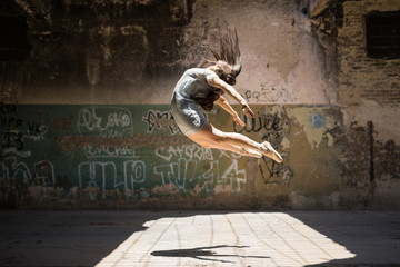 Beautiful ballerina in the air