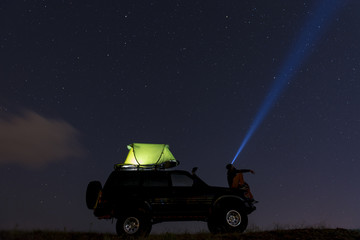 camping the night sky and watch the stars