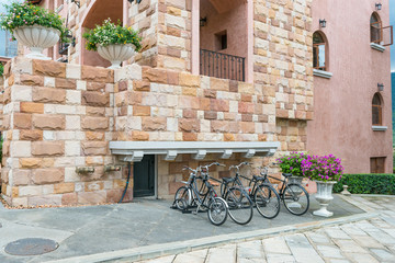 Bicycles parked and locked for a ride in the city,tuscany town