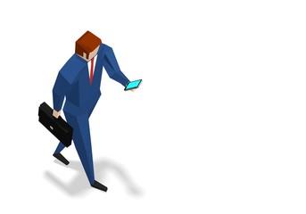 Businessman texting while walking