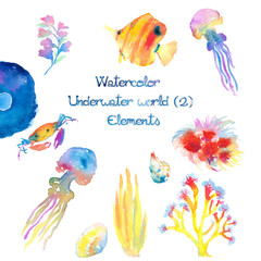 Watercolor Underwater World