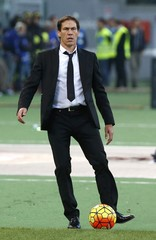 AS Roma's coach Garcia reacts during their Serie A soccer match against Lazio's at Olympic stadium in Rome