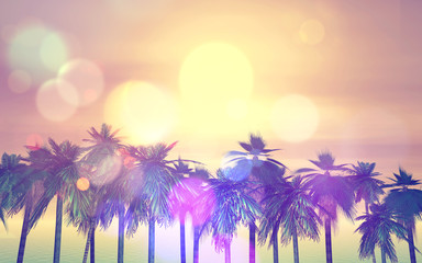 3D retro palm tree background