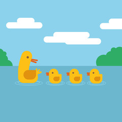 Duck and ducklings swimming in water. Vector illustration flat design.
