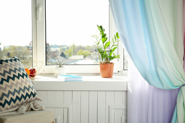 Interior of modern room wit cozy window sill
