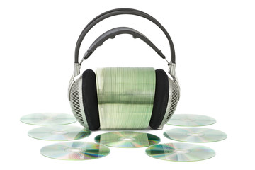 Various CD / DVD with headphones