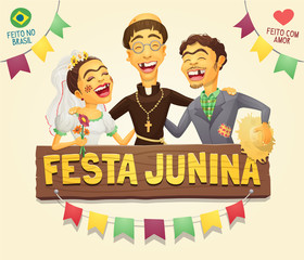 Funny hick couple with catholic priest brazilian June Party sign logo/header - Multiple layers - Creative high quality vector cartoon for june party themes - Made in Brazil - Made with love