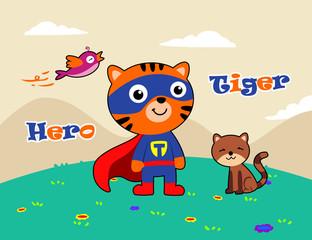 tiger meet his friends. vector cartoon illustration