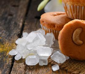 ิbakery and rock sugar on wood