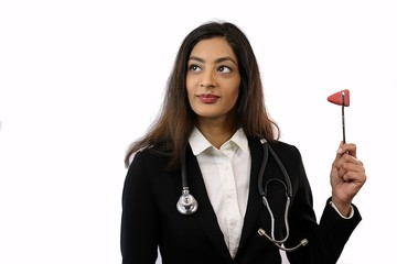 Attractive smart confident doctor wearing a suit an stethescope