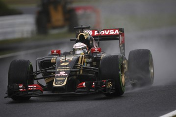 Lotus Formula One driver Grosjean of France drives during the second practice session in Suzuka ahead of the Japanese F1 Grand Prix