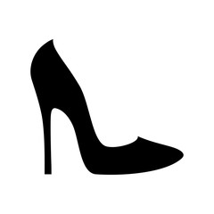 Elegant women's shoe silhouette isolated on white