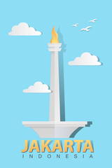 Vector stock of Monas, The National Monument of Jakarta Indonesia. Paper art style.