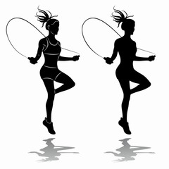 silhouette of a woman jumping over a rope, vector draw