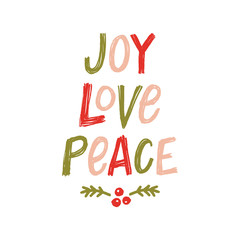 Vector Hand Lettering Joy Love Peace Greeting