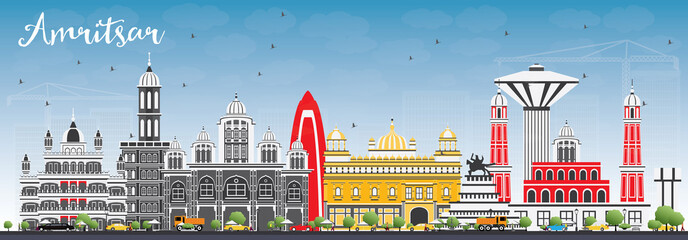 Amritsar Skyline with Gray Buildings and Blue Sky. Wall mural