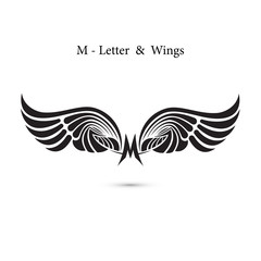 M-letter sign and angel wings.Monogram wing logo mockup.Classic emblem.Elegant dynamic alphabet letters with wings.Creative design element.Corporate branding identity.Flat web design wings icon.