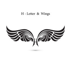 H-letter sign and angel wings.Monogram wing logo mockup.Classic emblem.Elegant dynamic alphabet letters with wings.Creative design element.Corporate branding identity.Flat web design wings icon.
