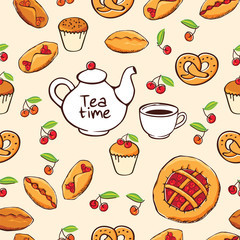 Seamless pattern with hand drawn teapot, pies, muffins for bakery menu, textile, wallpapers, gift wrap and scrapbook. Vector illustration.