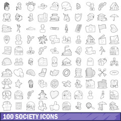 100 society icons set, outline style