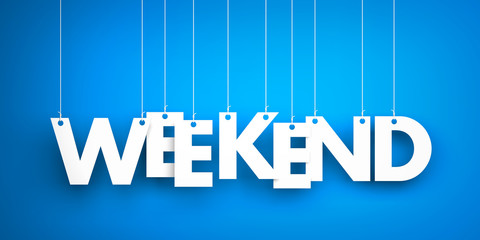Weekend - white word on blue background. 3d illustration