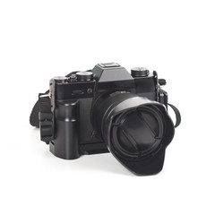 Camera with the lens closeup isolated on white background