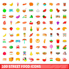 100 street food icons set, cartoon style