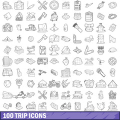 100 trip icons set, outline style