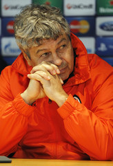 Shakhtar Donetsk coach Mircea Lucescu during the press conference