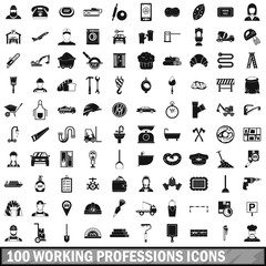 100 working professions icons set, simple style