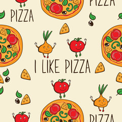I like pizza. Seamless pattern with hand drawn pizza for pizzeria menu, textile, wallpapers, gift wrap and scrapbook. Vector illustration.
