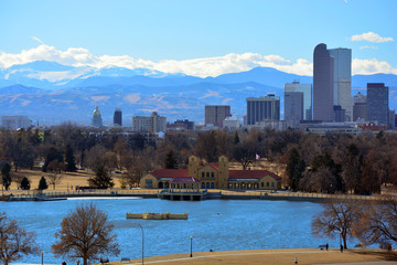 Downtown Denver, Colorado Skyscrapers with the Rocky Mountains in the Background on a Sunny Winter Day