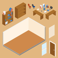 Office workplace vector isometric concept illustration. Room plus collection of isometric objects: table, chair, books, laptop, papers.