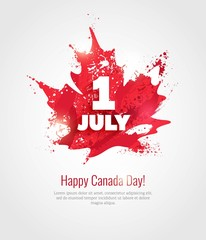 1 July. Happy Canada Day greeting card. Celebration background with maple silhouette and watercolor splatters. Vector illustration