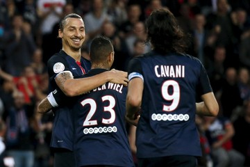Paris St Germain's Ibrahimovic celebrates after scoring a goal against Toulouse during their French Ligue 1 soccer match at the Parc des Princes stadium in Paris