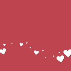 Cutout paper hearts. Bottom wave on crimson background. Vector illustration.