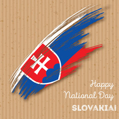 Slovakia Independence Day Patriotic Design. Expressive Brush Stroke in National Flag Colors on kraft paper background. Happy Independence Day Slovakia Vector Greeting Card.