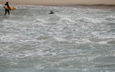 A surfer walks out of the ocean on Ipanema beach in Rio de Janeiro, Brazil