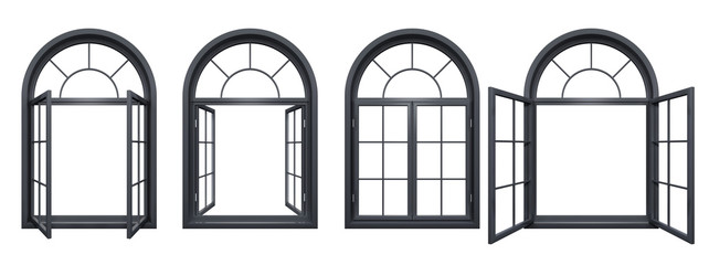 Collection of black arched windows isolated on white Wall mural