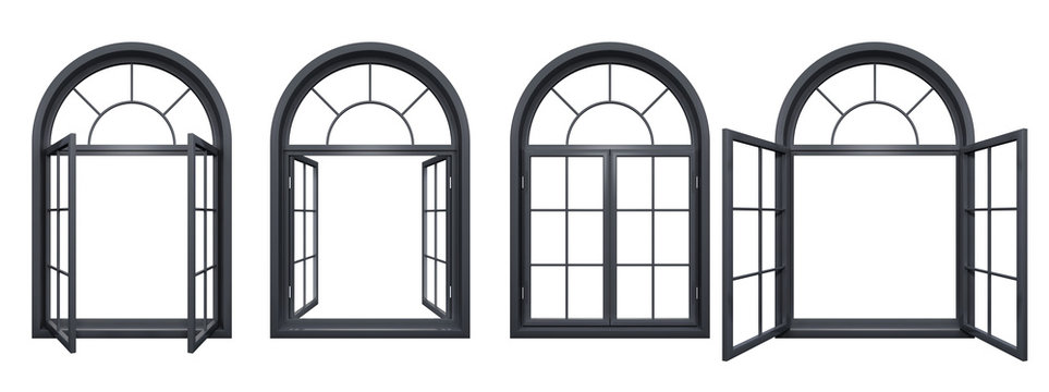 Collection of black arched windows isolated on white